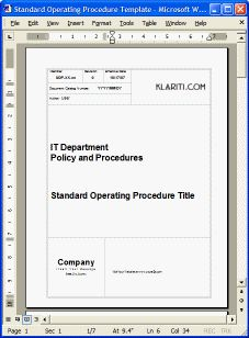 Standard Operating Procedure Template  Tools