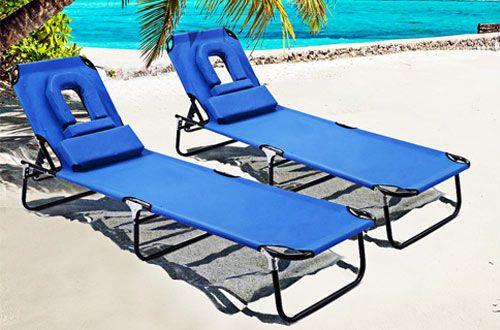 Gymax Folding Patio Lounge Chaise Chair Adjustable Beach Chair Recliner Beach Lounge Chair Folding Beach Lounge Chair Sunbathing Chair