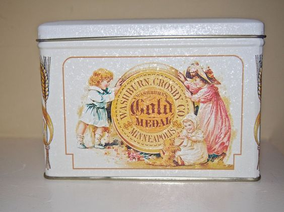 1995 Retro Ad Washburn's Crosby Gold Medal Flour Metal Tin Box Co w/ Hinged Lid