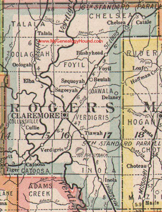 Rogers County Oklahoma Map Claremore Catoosa Inola - Map of oklahoma counties