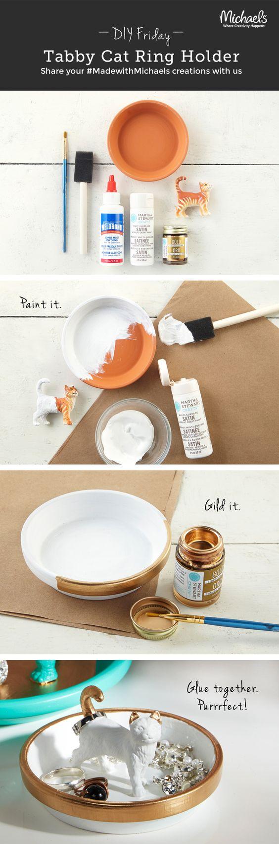 DIYFriday DIY Tabby Cat Ring Holder #DIY #crafts:
