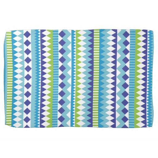 Aztec Andes Blue Turquoise Green Tribal Pattern Towels