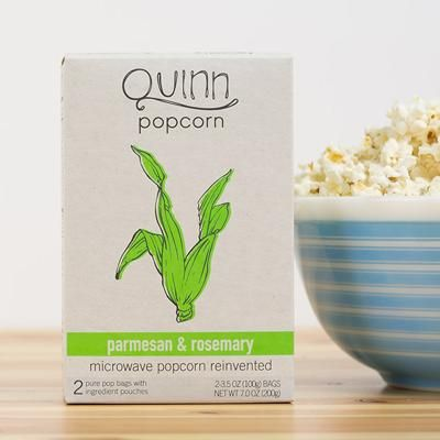 Parmesan & Rosemary Popcorn, Quinn Popcorn: This non-GMO snack is flavored with Peruvian and Spanish rosemary mixed with parmesan made from hormone-free milk.: