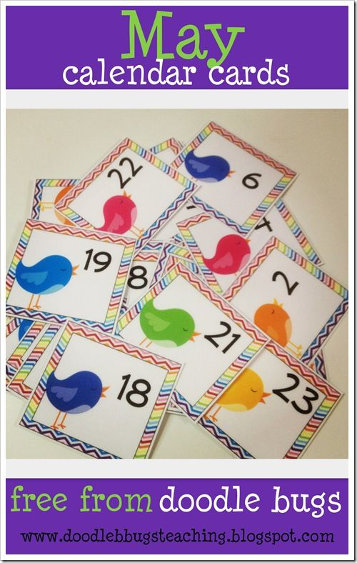 May Calendar Numbers Printable : May calendar cards free classroom likes suggestions