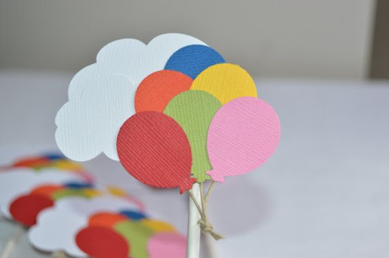 Decorate your cupcakes with these colorful UP inspired toppers! Each balloon is made from quality card stock that is affixed to a bed of clouds.