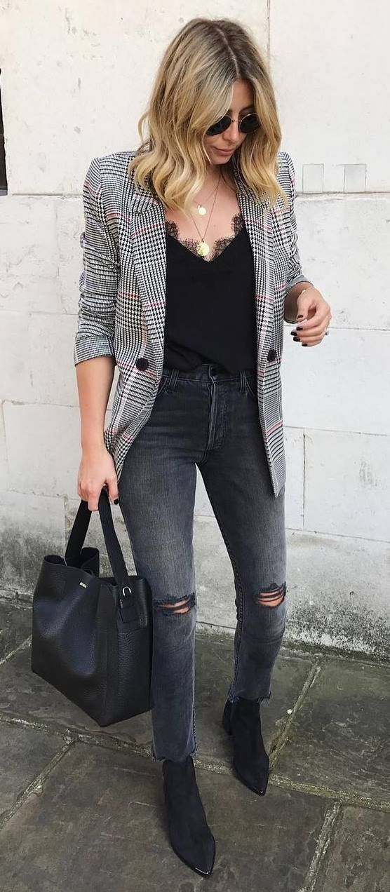 trendy fall outfit_plaid blazer + top + ripped jeans + bag + boots
