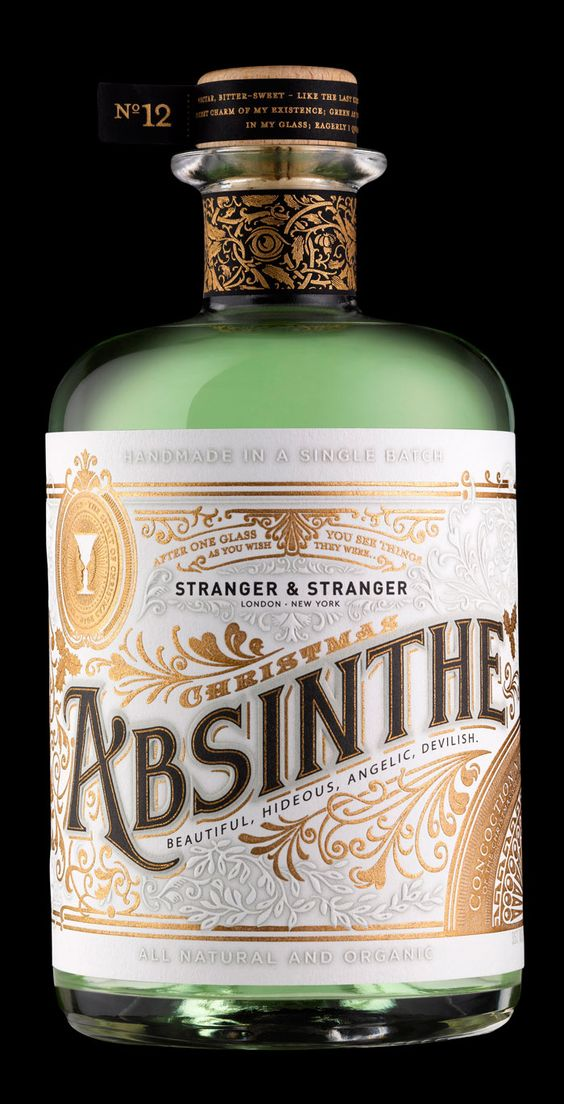 gorgeous: Package Design, Stranger Absinthe, Absinthe Packaging, Christmas Absinthe, Absinthe Label, Bottle Design