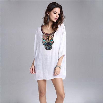 new European beads embroidery big pluz size fashion cotton ladies long shirt ladies summer shirts embroidery designs