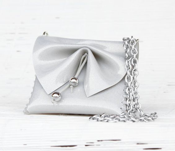 Grey  handmade handbag for Women - Jewel bag -Silver Bridal clutch - Bow shoulder Made in Italy