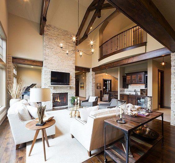 Modern rústico sala de estar com um ambiente acolhedor, caloroso apelo [Design: Tapete Kansas direto City]