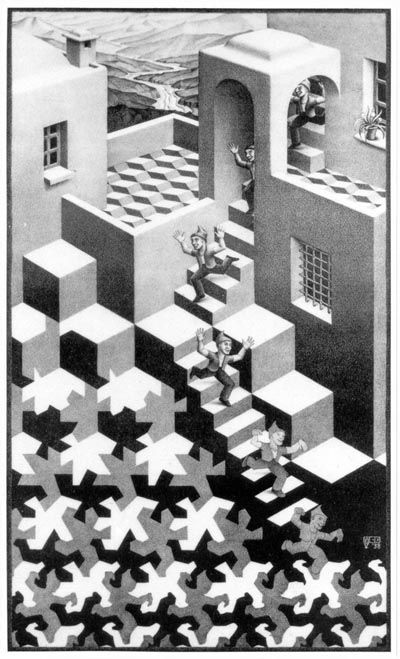 Here Escher combines a perspective top half shading imperceptibly into an isometric bottom half. The isometric cube pattern serving as floor tiles is a ...