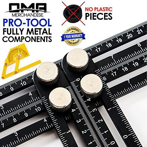 Oma Any Angle Multi Angle Measuring Ruler Full Metal Angle Izer Template Tool Black Perfect For Handymen Builders Craftsmen Carpe Tools Ruler Tool Set