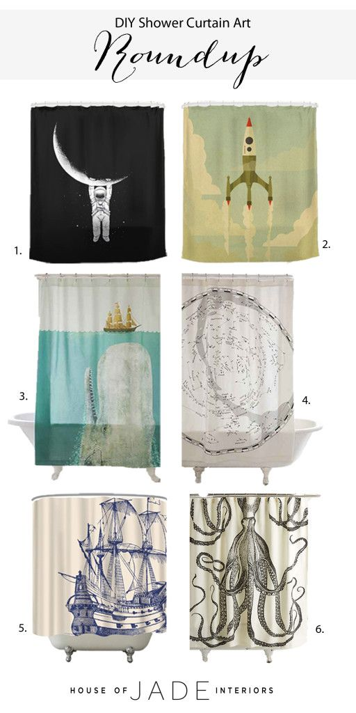 DIY Shower Curtain Art - House of Jade Interiors Blog