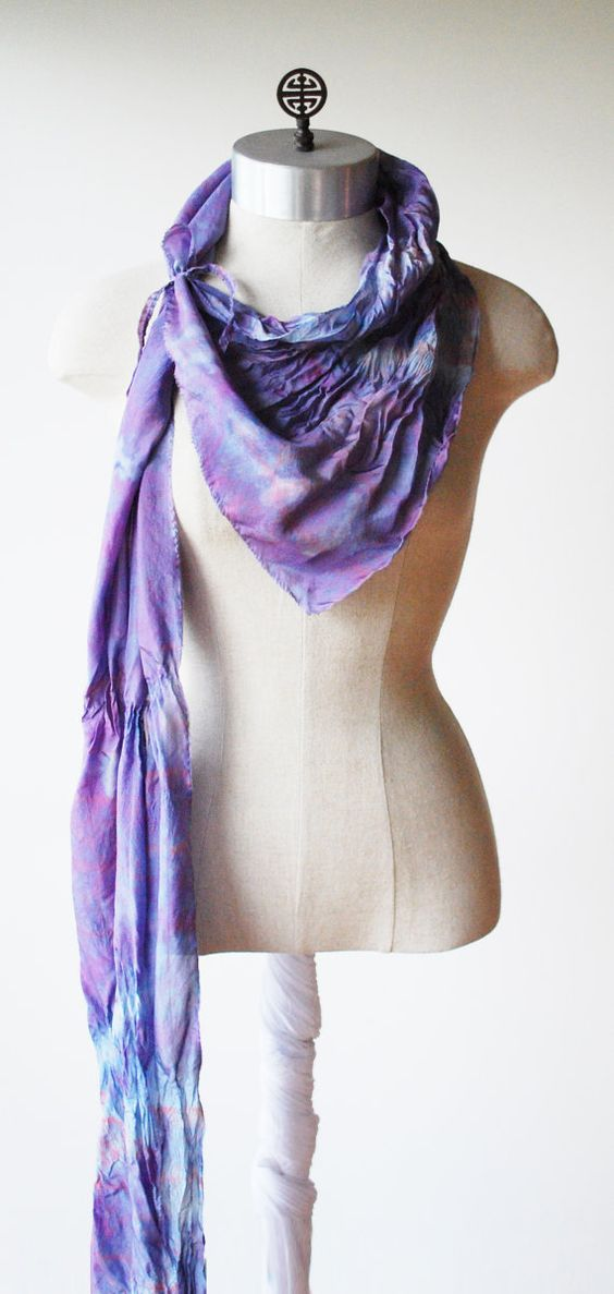 Purple silk scarf shibori dyed raw edges 88ediitons by 88editions