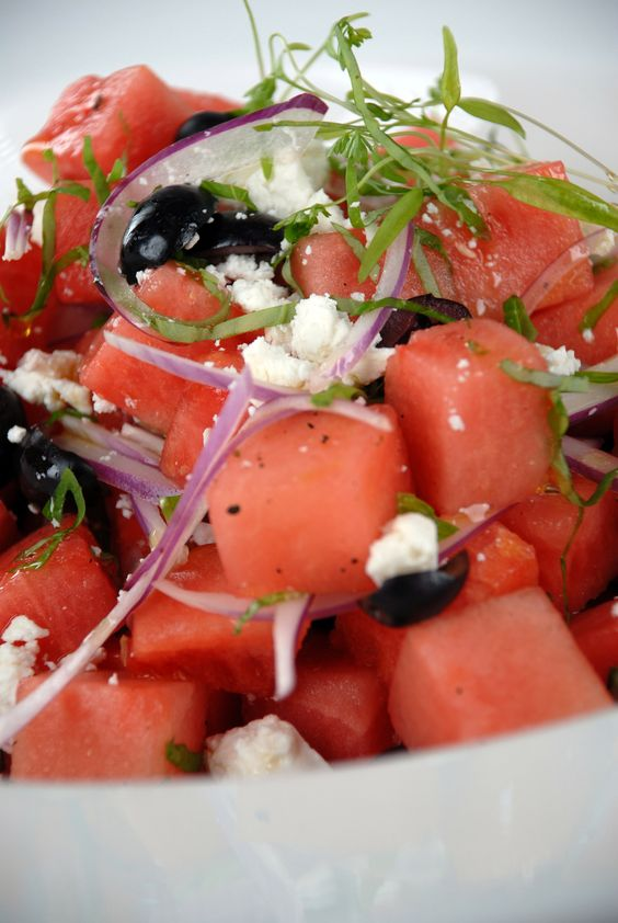 ... Mint and Basil: http://gustotv.com/recipes/salads/watermelon-feta