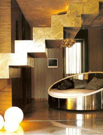 steps: Interior Design, Metallic Interior, Gold Stair, Living Room, Gold Room, Andrews Design