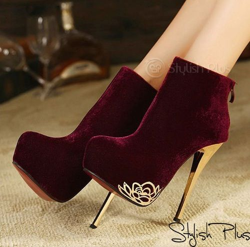 Deep Red velvet / suede bootie with gold heels | Shoes | Pinterest ...