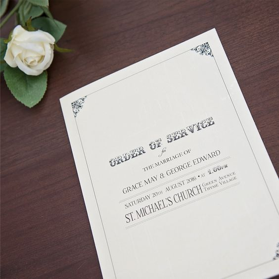 Sarah Alexis Stationery: Vintage Script Order of Service in Black and Cream