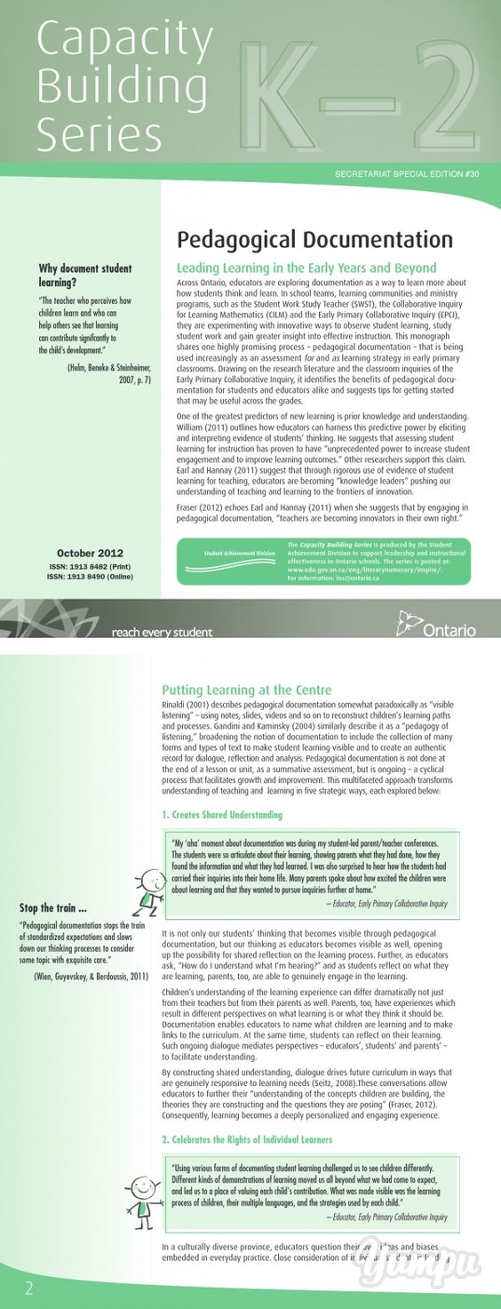 Capacity Building Series - Magazine with 8 pages on pedagogical documentation - observation and assessment