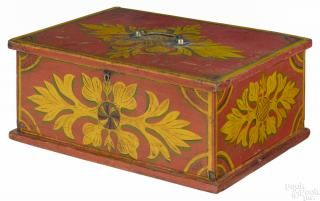Pennsylvania painted pine lock box, dated 1857, inscribed S. B. Wentzel Painter - Price Estimate: $3000 - $5000