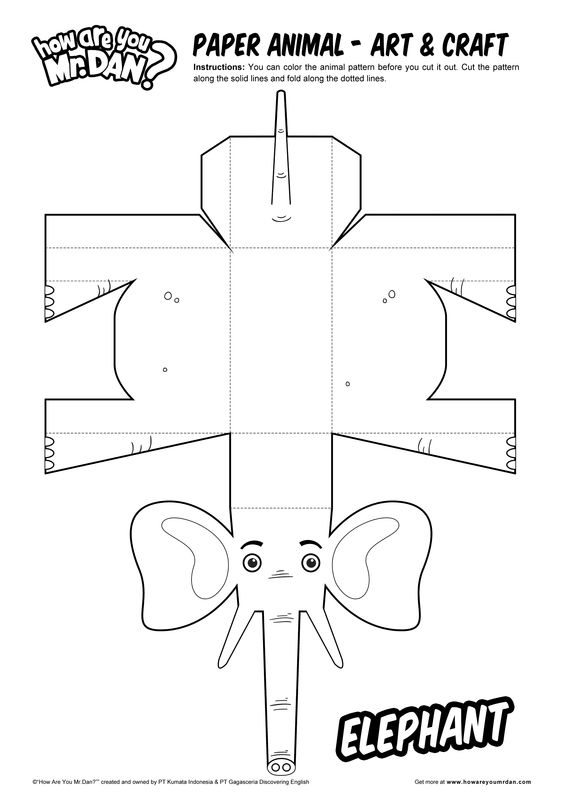 Paper animal - Elephant - Art & Craft - How Are You, Mr. Dan? - Learn English Note By Note