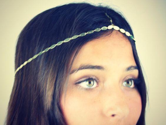 CHAIN HEADPIECE head chain headdress in silver by LovMely on Etsy, $20.00