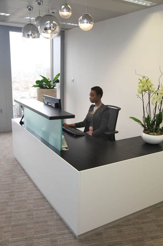 White L Shaped Reception Desk With Black Top Reception Furniture