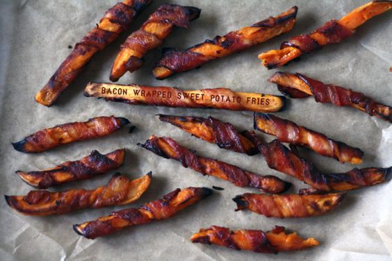 Bacon Wrapped Sweet Potato Fries?!  Now that I know about these, how can I ever be expected to eat anything else?
