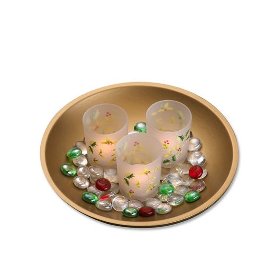 Holly Leave Votives on Gold Tray, Set of 3