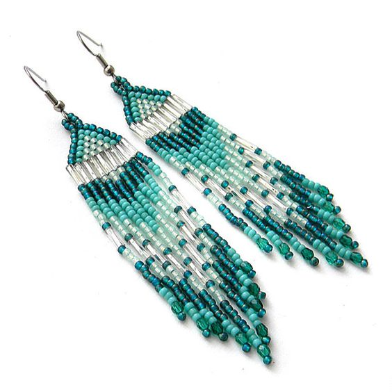 Turquoise seed bead earrings   beadwork jewelry  by Anabel27shop