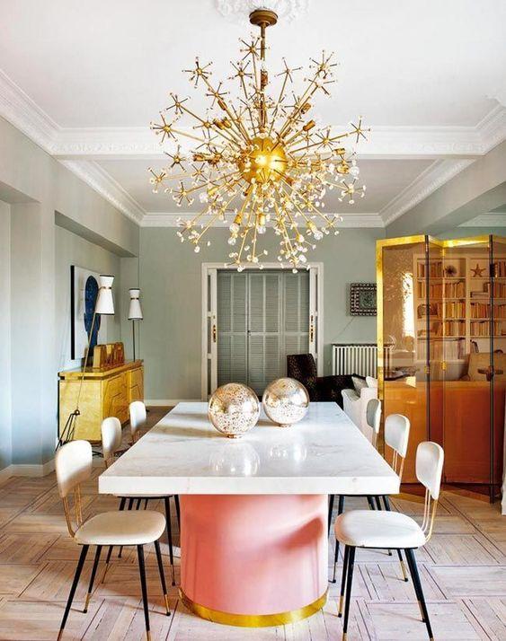 lámpara-sputnik-dorada-comedor-decoración-elegante-living-pink ...