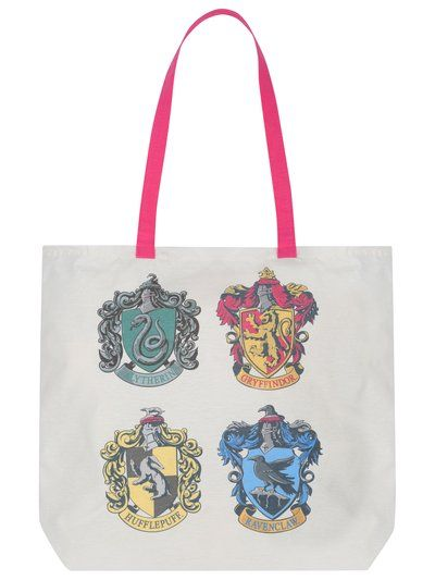 Harry Potter Canvas Bag. Shop in style with our Harry Potter themed canvas tote bag, complete with a vibrant pink strap and the four house emblems printed across the front and back.