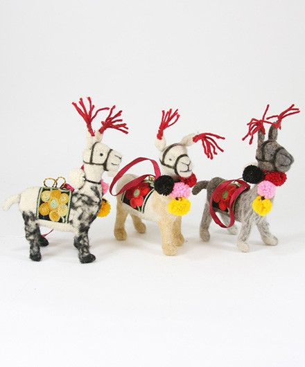 Folksy Llama Christmas Ornaments | Antlers, Ornament and Unique