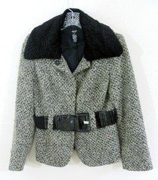 ALFANI Faux Fur Collar Black/Grey Tweed Jacket