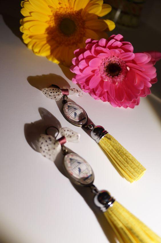 Fancy earrings with yellow tassel