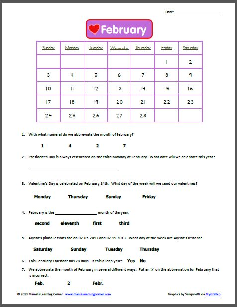 Free Calendar Math Printables : February calendar worksheet worksheets and