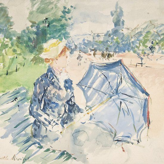 Berthe Morisot A Woman Seated At A Bench On The Avenue Du Bois 1885 Redbubble Berthemorisot Masterpiece Art Painting Findyourthing Homedecor Fashion 印象派