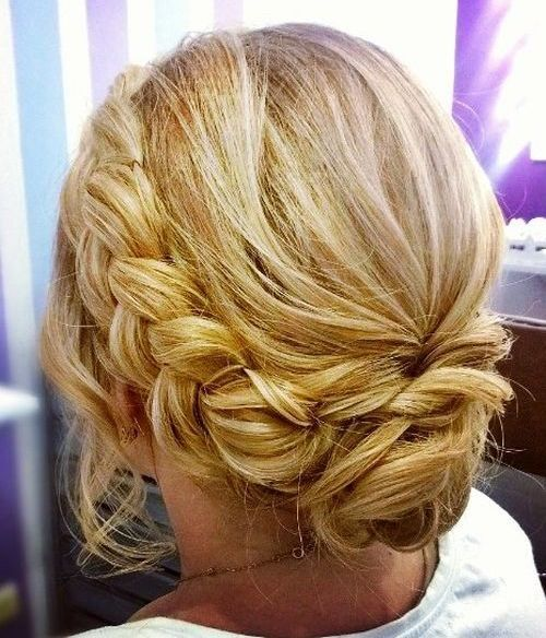 messy updo for medium hair with a braid