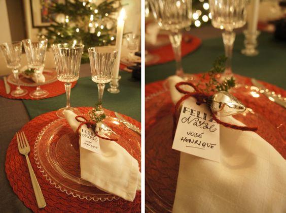 Decoração da mesa de Natal e Ano Novo