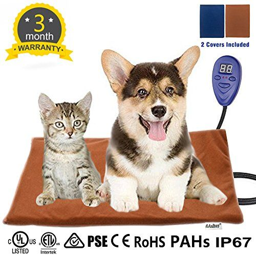 Asltoy Pet Heating Pad Dog Cat Electric Warming Mat Heat Pad Pet Mat Warming Pad Waterproof Adjustable Chew Resistant Cord Warming Bed 2 Replace Soft Removable Pet Heating Pad Pet Mat Pets