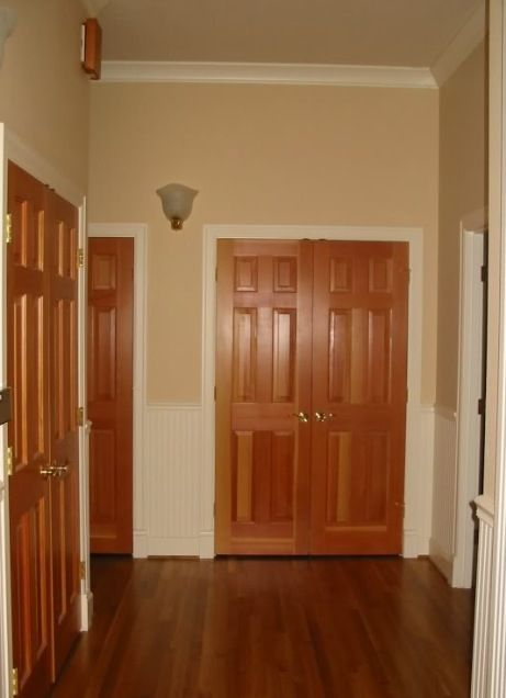 Oak doors white baseboards finishings pinterest for Baseboard and door trim