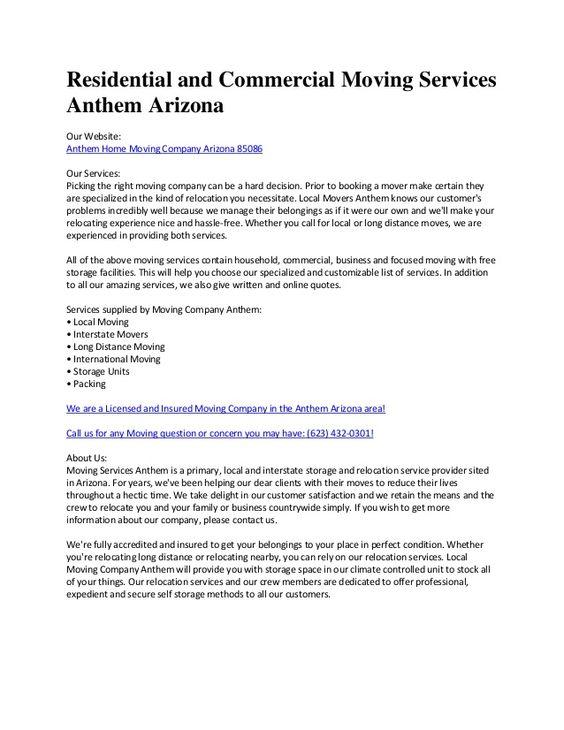 PBTP Moving Company Anthem By Movingcompanyanthem Via Slideshare | Moving |  Pinterest | Anthem Arizona, Moving Companies And Moving Services