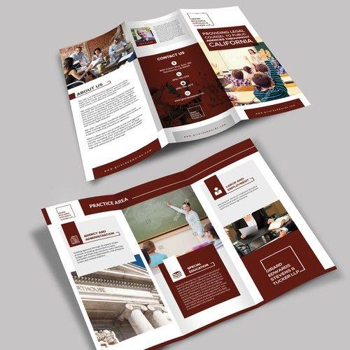 Design A Tri Fold Brochure For An Education Law Firm Brochure Contest Design Brochure Winning Tuckeru Education Laws Law Firm Brochure