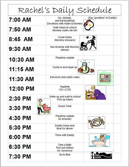 18 month old daily schedule....I need a schedule for chloe ...