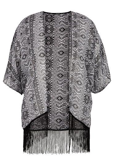 plus size chiffon kimono in ethnic print with fringe (original price, $36) available at #Maurices