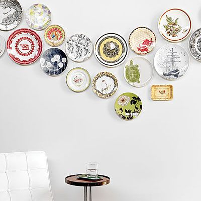 Colorful plate collection display.