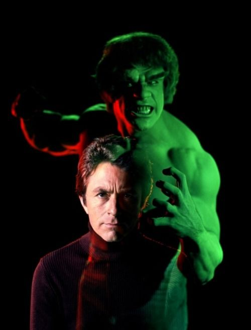 True story-way back when, I dreamed about the Hulk (yes, yes, that kind of dream) and all through the dream I kept wondering why he didn't turn back into Bill Bixby, I mean what was he mad about????????????? Bill Bixby & Lou Ferrigno