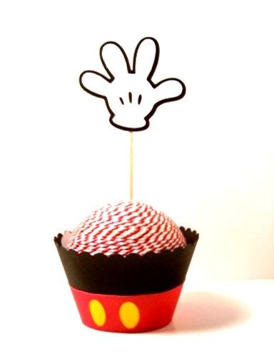 Cupcake Wrappers Disney Mickey Mouse Inspired Party Set of 6 Pattern Wrappers and 6 Mickey Hand Cupcake Toppers Disney Party 12 pcs on Etsy, $13.00