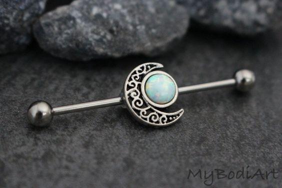 Unique Opal Moon Cute Industrial Piercing Barbells Bars at MyBodiArt