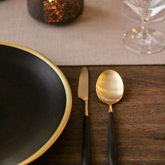 Jensen black and gold flatware